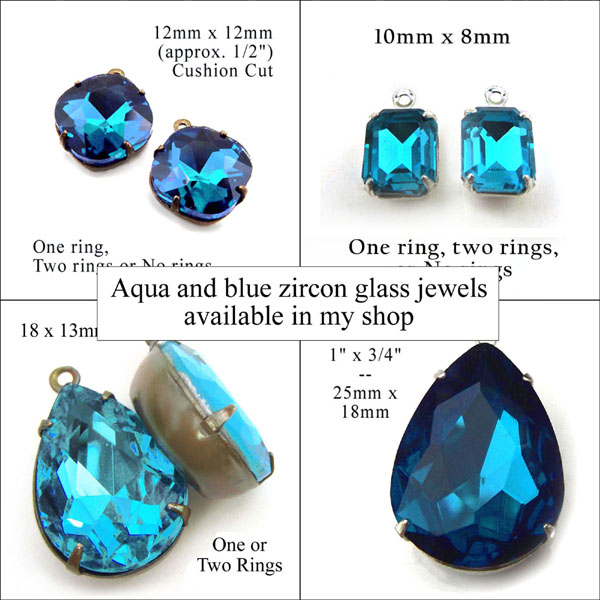 aqua and blue zircon vintage glass rhinestone jewels at weekendjewelry1 jewelry supplies shop at Etsy