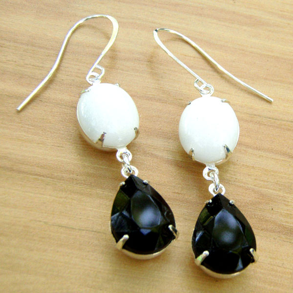 Black and White Vintage Glass Earrings