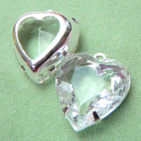 Vintage Glass Jewels - clear rhinestone heart jewels available in silver plated settings and patina brass settings