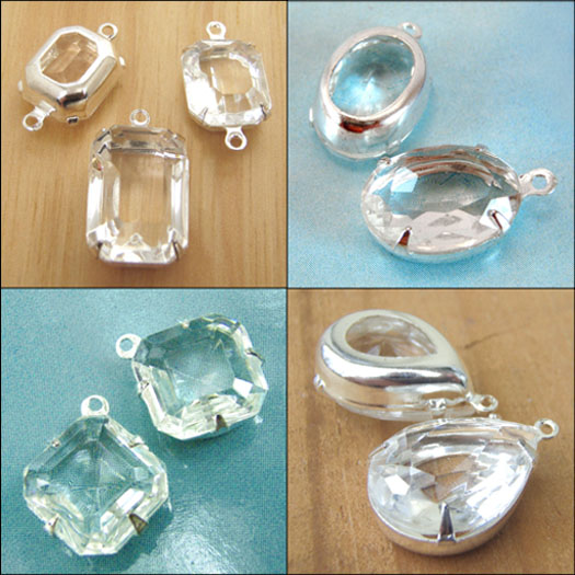 clear vintage glass and vintage rhinestone jewels in my etsy jewelry supplies shop