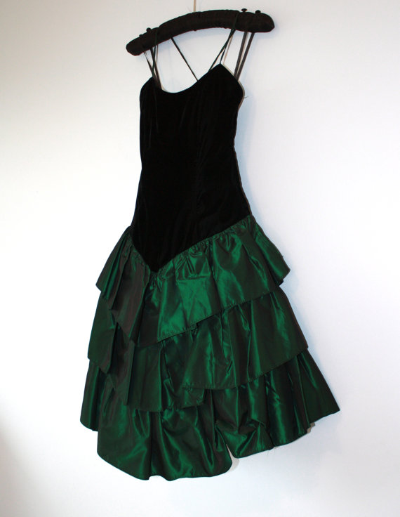 emerald and black velvet party dress... at Foxy Brit Vintage on Etsy