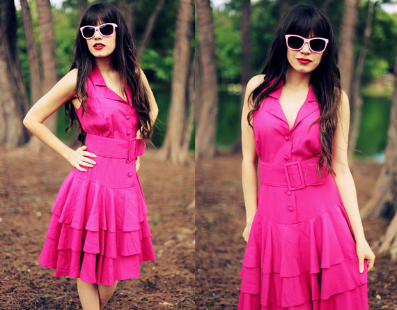 fuschia pink vintage party dress...at AppleBranchesVintage on Etsy