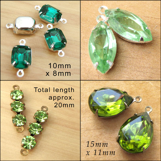 Green Vintage Glass Jewels available in my shop
