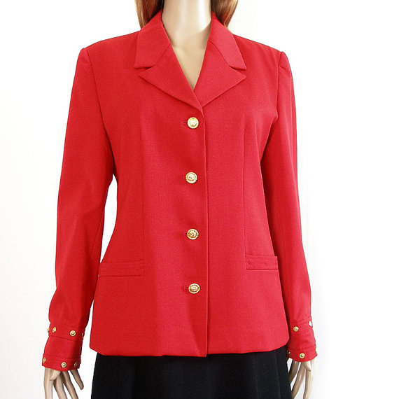 Look Again Vintage red wool blazer