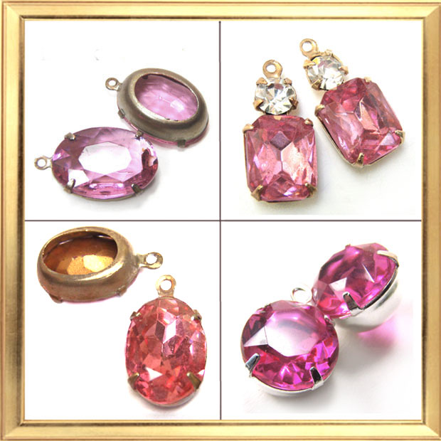rose pink vintage rhinestone jewels