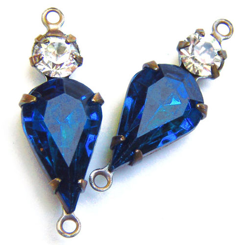 Sapphire Vintage Pear Jewel and Crystal Rhinestone Two Jewel Charms
