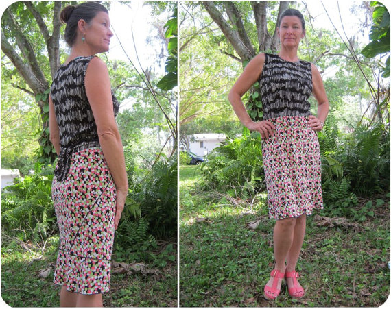 Upcycled One of a Kind Sleeveless Dress from Great Fabrications SRQ on Etsy