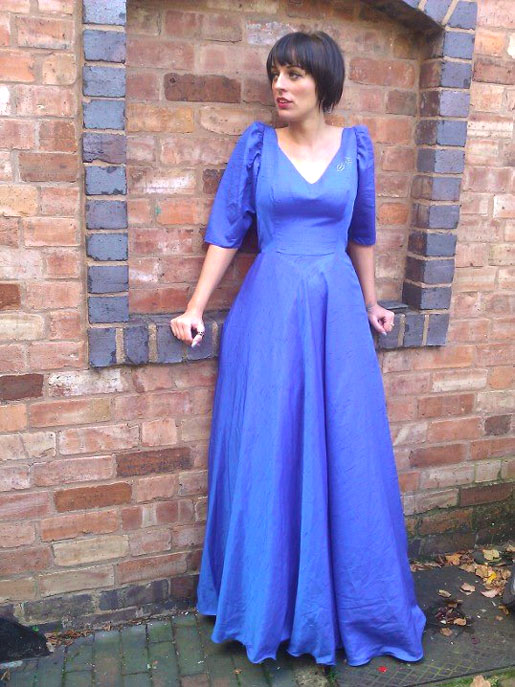 vintage blue gown or party dress available at WTFVintage on Etsy
