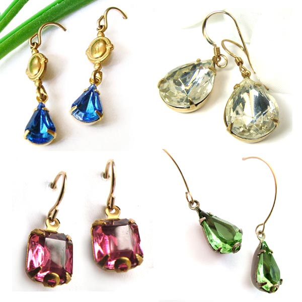 rhinestone earrings made with glass gems from weekendjewelry.com online jewelry supplies shop